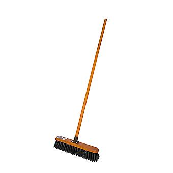 """Charles Bentley Countryman 18"""" Stiff Bassine Broom Complete with Wooden Handle"""