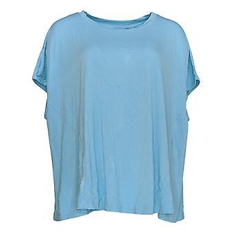 Laurie Felt Women's Top camiseta asimétrica de manga corta azul A352575