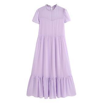 Women Dots Ruffles Collar Short Sleeve Elegant Midi Dress