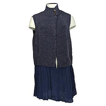 LOGO by Lori Goldstein Women's Sweater Knit Vest Mock Neck Blue A296548