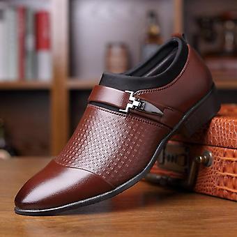 Miehet muodollinen slip-on terävä toe kiiltonahka kengät