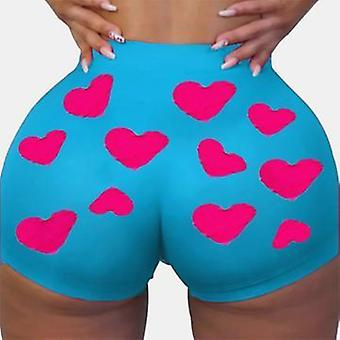 Summer Casual High Waist Short Pants Sports Outdoor Print Elastic Pants