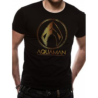 Aquaman Unisex Adults Metallic Symbol Design T-Shirt