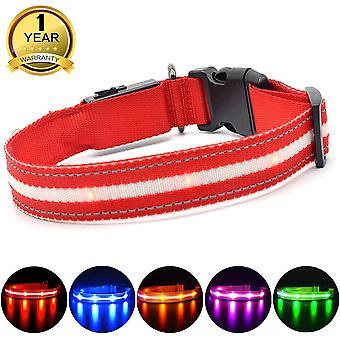 Masbrill geführt Hundehalsband, leuchten Hundehalsband mit USB wiederaufladbar und wiederaufladbar, super hell tun