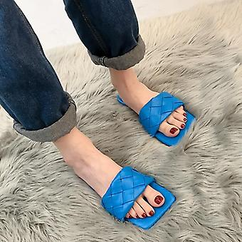 Rimocy Fashion Weave Leather Beach Slippers Women Summer Comfort Soft Flat