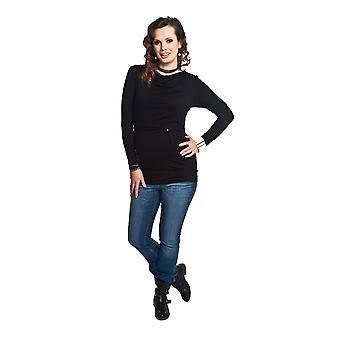 Stretchy Maternity Nursing Top Manches longues - Noir