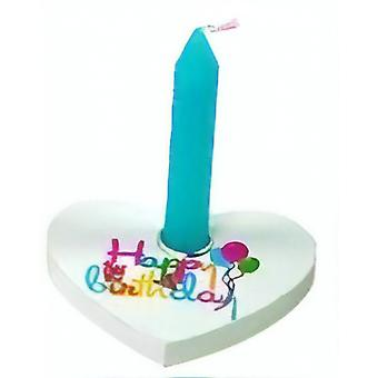 Birthday Candle In Wooden Heart 7X6.3 Cm Blue