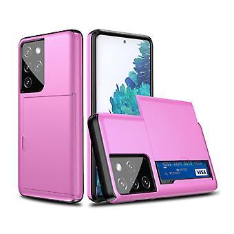VRSDES Samsung Galaxy S21 Ultra - Funda de la cubierta de la ranura de la tarjeta de la cartera caso de la caja púrpura