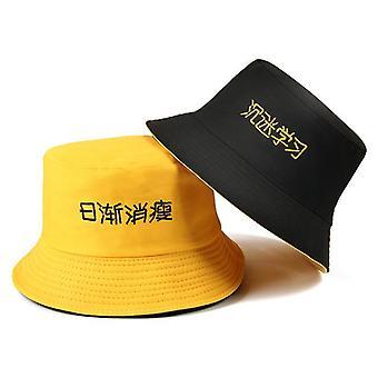 Casual Letter Bucket Bob Hip Hop Caps, Summer Panama Foldable Double Hat/women