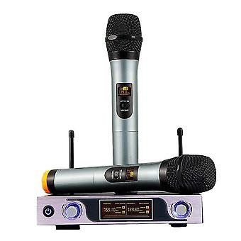 Dual Channel VHF Handheld Wireless Microphone Receiver System with Adjustable Volume Control Two Cor