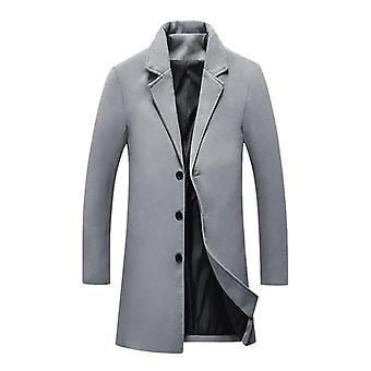 Autumn, Winter Wool Long Coat, Men Warm Overcoat, Woolen Jacket