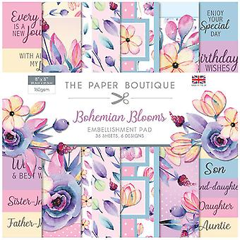 The Paper Boutique - Bohemian Blooms Collection - 8x8 Embellishments Pad