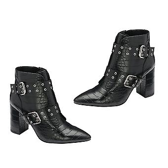 Ravel Croc Print Women Boots with Buckle in Black Colour