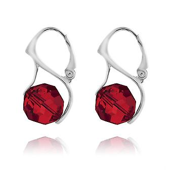 Silver light siam earrings with swarovski crystal mv30477
