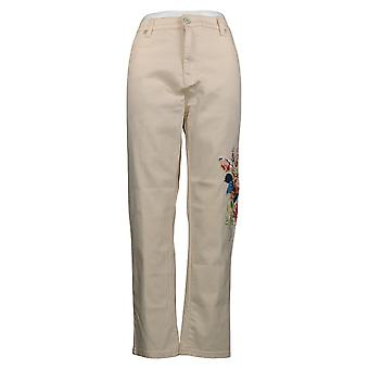 DG2 Af Diane Gilman Women's Jeans Petite Stretch Floral Skinny Pink 68777