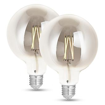 WiZ LED G125 Smart Filament Bulb Smoky ES (E27) Tuneable White & Dimmable, 2 Pack