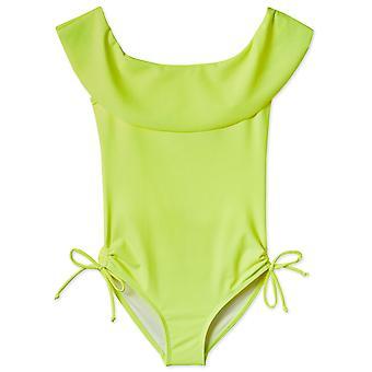 Neónové žlté nariasené plavky