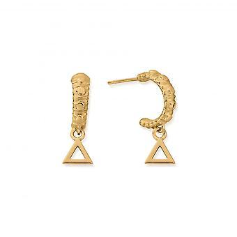 ChloBo Sterling hopea kullattu mini palo vanne korvakorut GEH3141