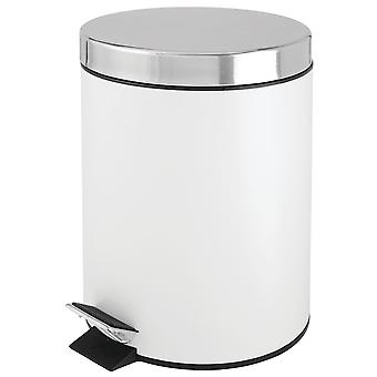 mDesign 1.3G - Small Round Step Trash Can Garbage Bin, Removable Liner