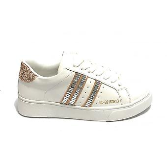 Женская обувь Кроссовки Золото и золото Ecopelle Белый / Блеск Розовый Ds21gg07