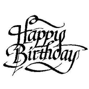 Feliz cumpleaños madera montada sello montado