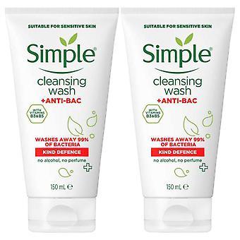 2 Paquete de defensa tipo simple +anti-BAC limpieza lavado facial 150ml