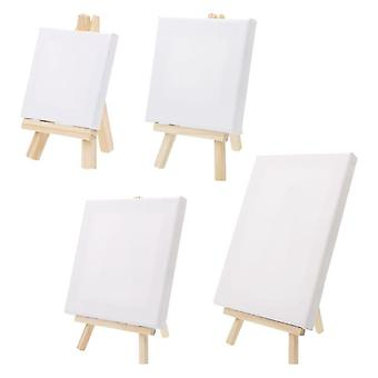 Mini Canvas And Natural Wood Easel Set For Art, Painting, Drawing Craft,
