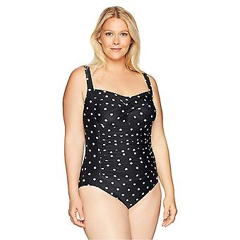 Coastal Blue Women's Plus Size One Piece Swimsuit, Tropical Print, 3X (24W-26W)