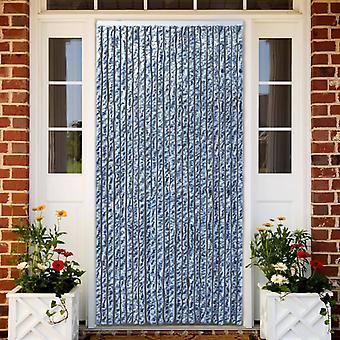 vidaXL الحشرات طارد الستار الأزرق الأبيض الفضة 100x220cm Chenille