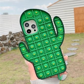 N1986N iPhone 11 Pro Max Pop It Case - Silicone Bubble Toy Case Anti Stress Cover Cactus Green