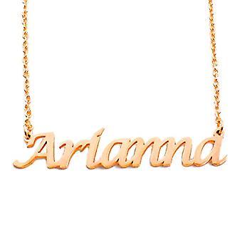 """L Arianna - 18-karat forgyldt halskæde, med brugerdefineret navn, justerbar kæde af 16 """"- 19"""