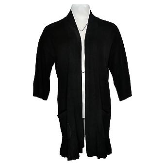 Isaac Mizrahi Live! Damen Pullover 3/4-Sleeve Cardigan Schwarz A376845