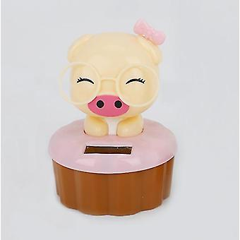 Pink pig cartoon solar ornament car decoration az770