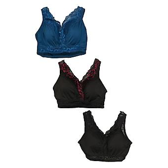 Rhonda Shear SzL One Size3-pack Pin-Up Black Bra Set 750300