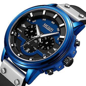 Casual MEGIR 2080 24Hours Cronograf mâini luminoase impermeabile din piele sport cuarț