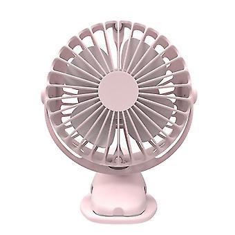360¡ã USB Rechargeable Mini Cooling Fan Clip On Desk Pram Cot Car Baby Stroller(Pink)