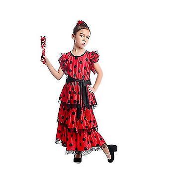 Spanish Flamenco Skirt Dancer Performance Costume(M)