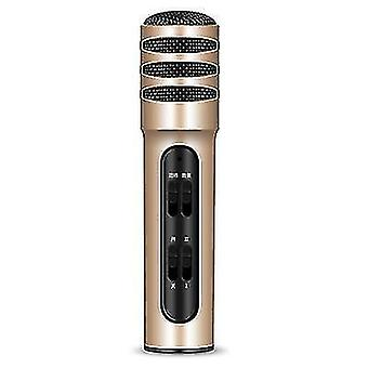 C11 téléphone mobile karaoké condensateur carte son microphone de chant en direct (Or)