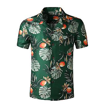 Silktaa Men's Casual Printed Floral Tropical Style Buttoned Summer Short-sleeved Shirt