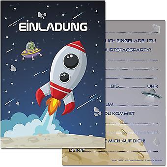 12 Einladungskarten im Set zum Kindergeburtstag mit Motiv Rakete, Weltraum, Weltall, Raumschiff.