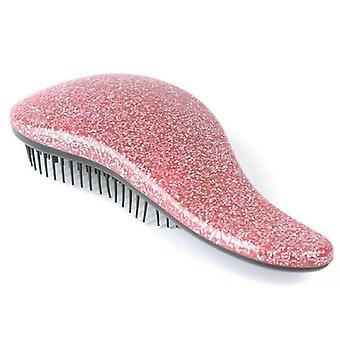 (Różowy) Glitter Hair Brush Anti-static Multicolor Hair Comb Professional Hair Stylowe włosy