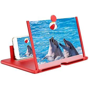 """12"""" Screen Magnifier 3d Hd Mobile Phone Magnifier Projector Screen Supports All Smartphones(Red)"""