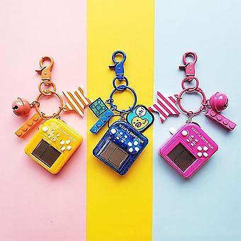 Tetris Video Game Keychain Classic Game Machine Retro Nostalgic Game Console Keychain(02 Rose Red)