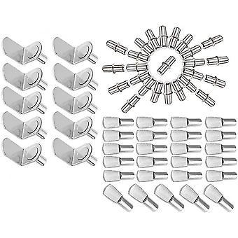 3 stilar av metallhylla stöd stift inklusive L-formade konsoler / Flat Spoon Style hyllor /