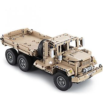 Aionyaaa Automobile Manufacturing 2.4g Military Truck Diy Building Blocks Rc Simulation Car Toy Gray