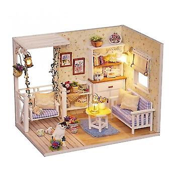 Dollhouse accessories doll house furniture diy miniature 3d wooden miniaturas dollhouse toys for children birthday christmas gifts