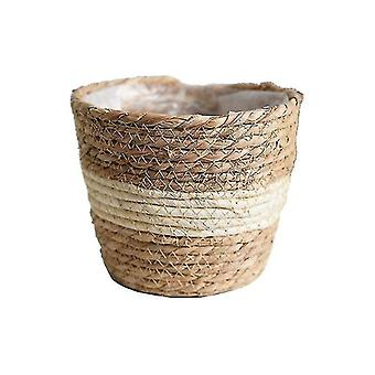 Vases nordic style straw flower and plant vase storage baskets for decor beige-01