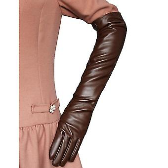 Women Simulation Gloves Leather Silky Lining Long Over Elbow  50cm Claret S