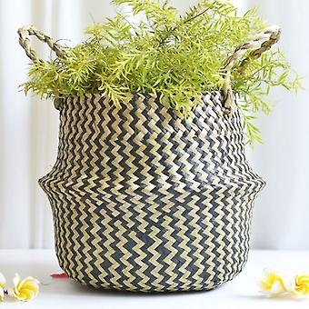الأعشاب البحرية الخوص سلة زهرة وعاء القذرة للطي سلة تخزين سلة الديكور الأسود
