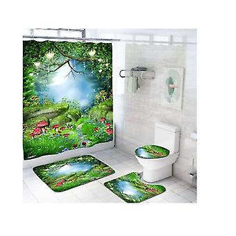 Ванна Rugs Ванная комната Аксессуар устанавливает водонепроницаемый Полиэстер Роскошные ванны наборы для 4 кусок